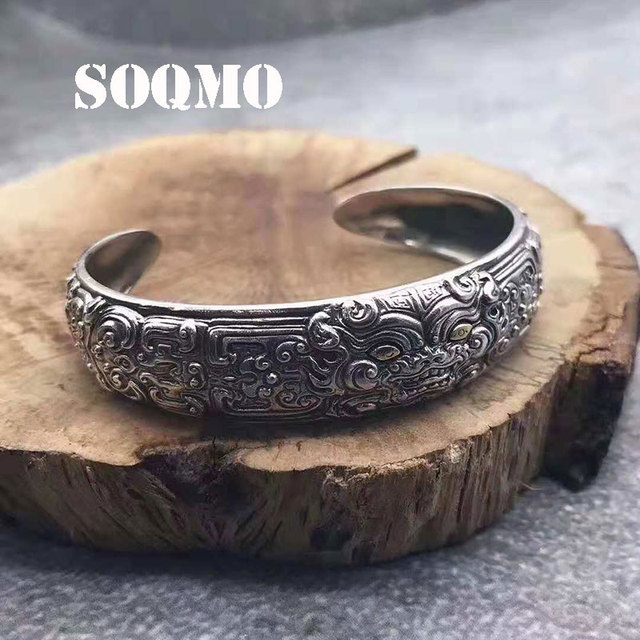 SOQMO 100% Pure 925 Sterling Silver The beast Gluttonous Vintage Bracelet Bangle for men indian famous brand jewelry SQM237