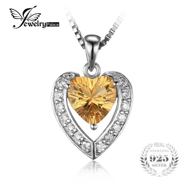 Jewelrypalace coração 2.4ct genuíno amarelo citrino pingente de prata 925 não inclui uma cadeia de moda jóias finas para mulheres