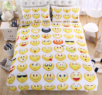 Duvet Cover Expression smile face Cute Creative 3pcs British Spain Style Family student dormitory Quilt cover pillowcase