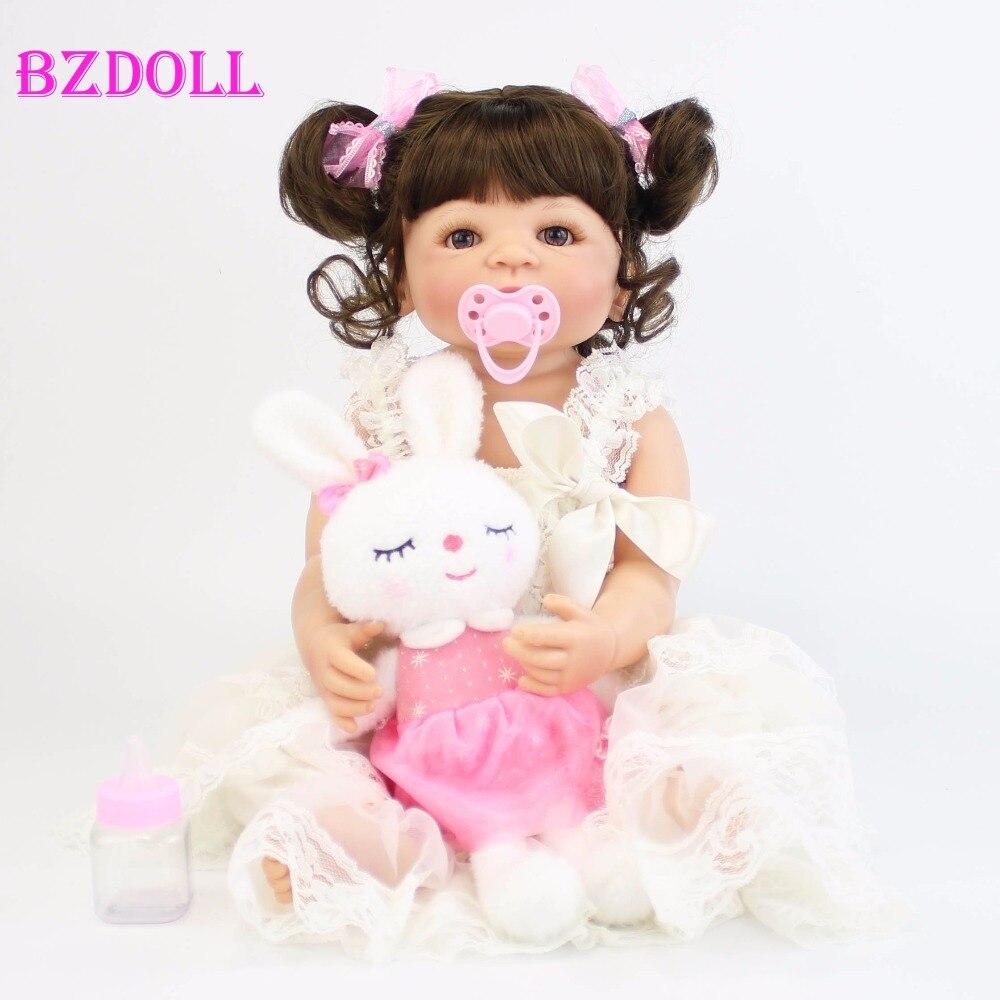 55cm Full Silicone Vinyl Reborn Alive Baby Doll Toys Newborn Princess Toddler Babies Bebe Doll Girls