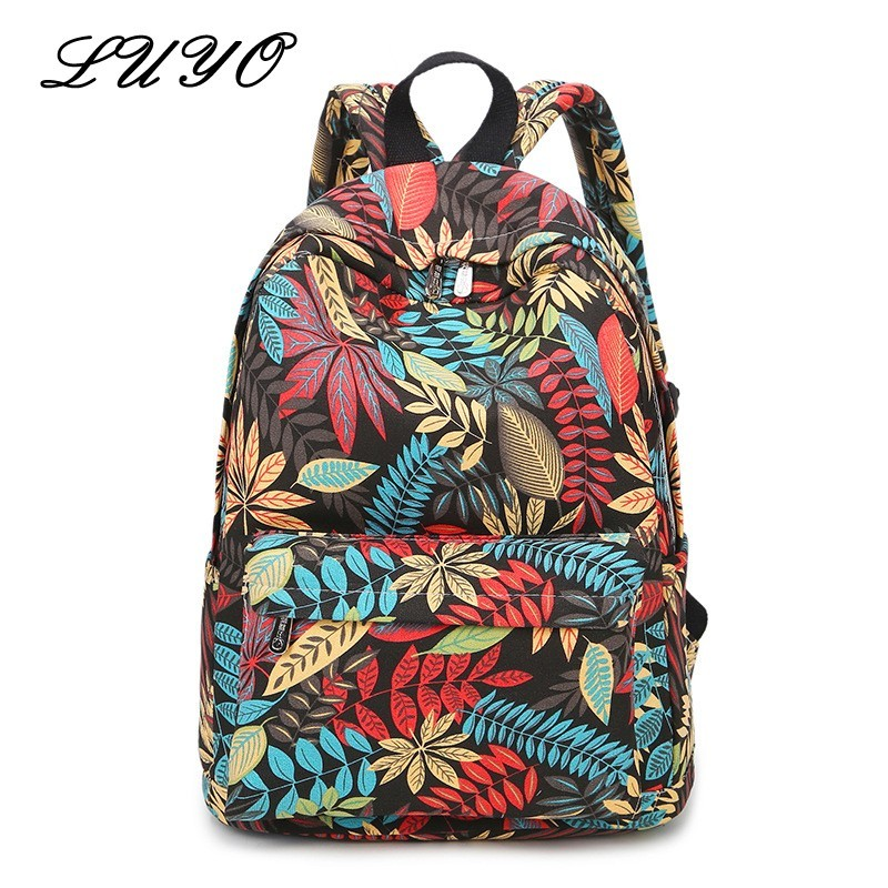 LUYO Brand Middle School Colourful Leaf Printing Schoolbags Woman Canvas Travel Female Laptop Backpack Mochila Feminina