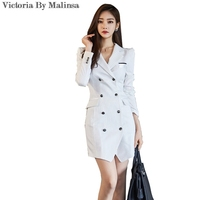 2017 Women Autumn Office Lady Blazer Dress Double-breasted Long Sleeve White Stripes Dress Notched Collar Pocket Belt Dresses
