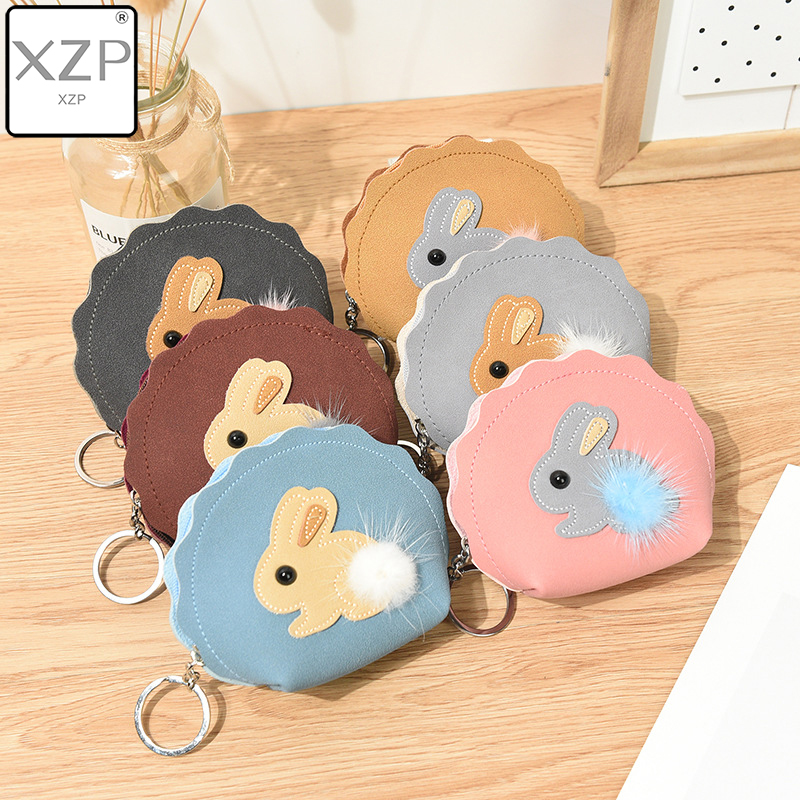 XZP Cute Cartoon Rabbit Matte Leather Pompom Coin Purse Card Keys Holder Women Zipper Mini Wallet Ladies Kids Small Bags Gifts