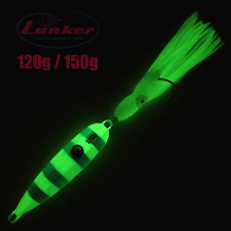 Lunker Inchiku 120g <font><b>150g</b></font> glow metal slow jig octopus skirt Japan snapper grouper marlin <font><b>jigging</b></font> salt water sea boat <font><b>lure</b></font> image