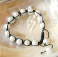 Wholesale 10 Pcs White Natural Pearl 10mm Green Cord Bracelet Shamballa Style