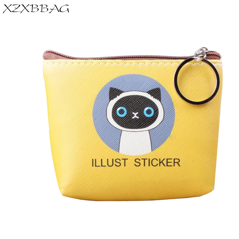 XZXBBAG PU Leather Children Coin Purse Cute Animal Cat Zipper Small Wallet Girl Mini Wallet Kids Kawaii Change Pouch Zero Wallet new brand mini cute coin purses cheap casual pu leather purse for coins children wallet girls small pouch women bags cb0033