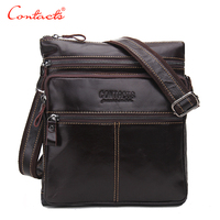 CONTACT S Fashion Genuine Leather Brand Design Men S High Quality Cowhide Messenger Shoulder Travel Bags