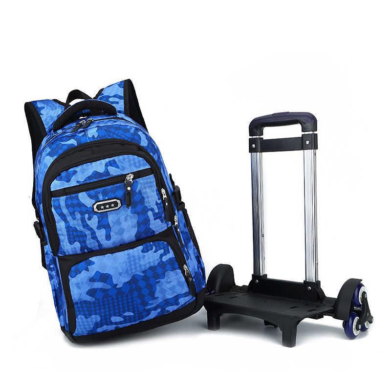 29f780cb18f1 Последние съемные детские школьные сумки с 2/6 колесами лестницы Дети  Мальчики Девочки школьный ранец