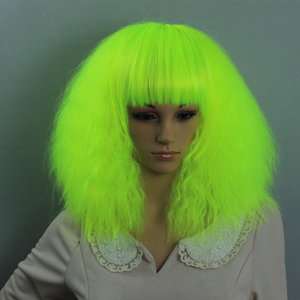 Ka Full Curly Medium Long Light Green Color Synthetic No Lace Hair