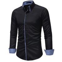 071603 High Quality New Men's Autumn Casual Formal Slim Button Down Long Sleeve Dress men shirt long sleeve