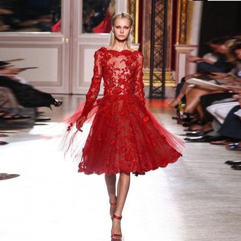 2017 Short Prom Dresses Red Lace Elie Saab Celebrity Evening Gowns Long Sleeves Appliques Knee