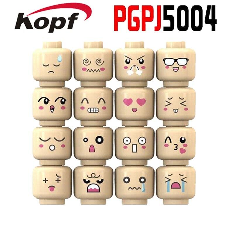 PGPJ5004 16Pcs/set Building Blocks Skin Color Cute Face Emoji Expression Cartoon Bricks Learning Doll Action Children Toys Gift