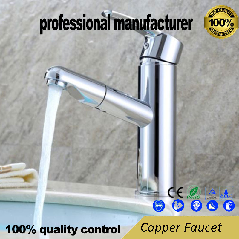 Copper Faucet For Hot And Cold Water Faucet Small Waist Lavatory Faucet Washbasin Single Hole Sprayable Stretchable Faucet