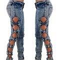Винтажный стиль отбеленные Новая мода сексуальная сторона выдалбливают лук тощий denim длинные брюки/джинсы/брюки для женщин
