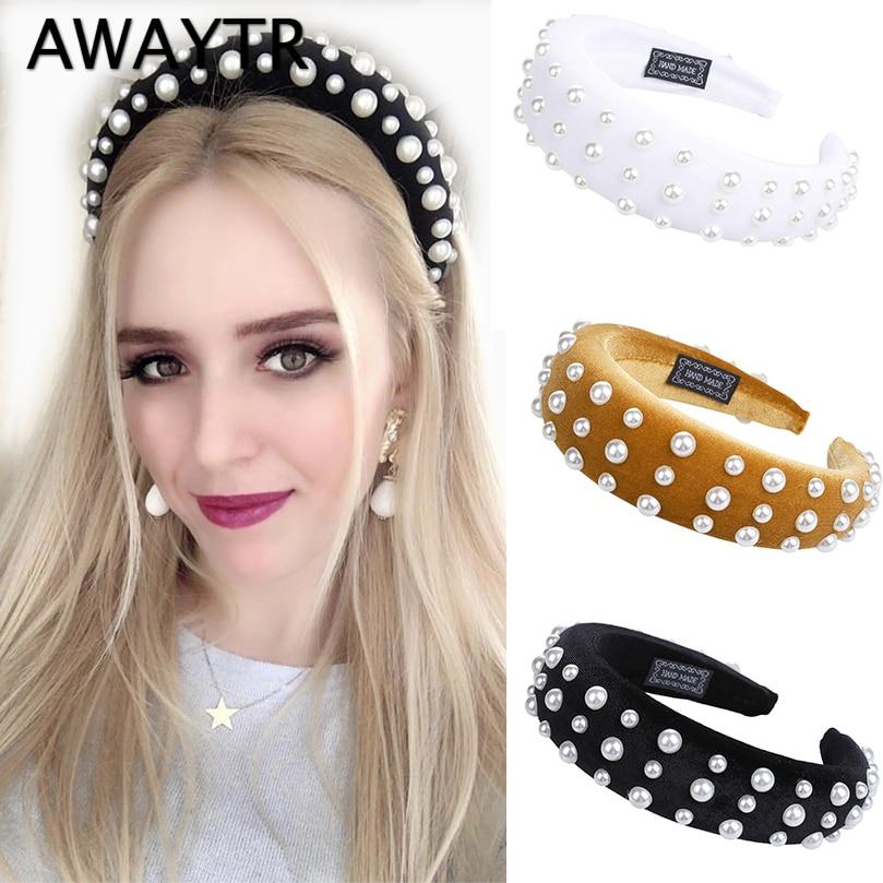 AWAYTR 2019 New Special Design Pearl Headband for Women Retro Padded Hairband Fashion   Headwear   Girls Ladies Hair Accessories