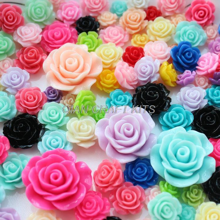 50pcs Mixed Sizes,mixed Colors 10mm-25mm Resin Flowers Bloom Roses Cabochons Flatback Decoden Kit