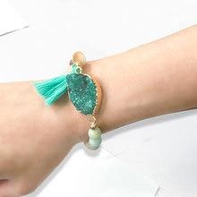Balibali nieuwste manchet kwast armband voor vrouwen hanger lichtmetalen connectoren natuurlijke halfedelsteen vrouwen armband vrouw cadeau