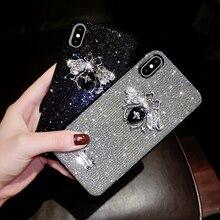 Marca de lujo de 3D de abeja Etiqueta de letras brillo Diamante de bling del teléfono carcasa para iPhone 6 S 7 7plus 8 plus X XS X sexy lindo cubierta
