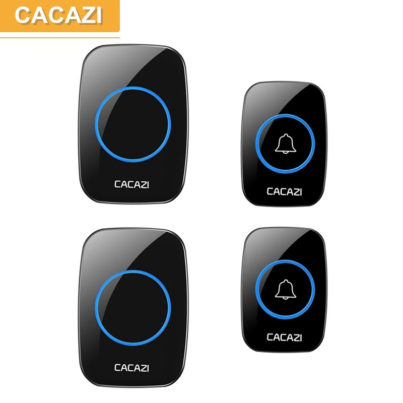 CACAZI AC 100-240V DoorBell Waterproof 300m work range Wireless Door bell 2 transmitters+2 receivers 38 Ring tunes door chime cacazi ac 110 220v wireless doorbell 1 transmitter 6 receivers eu us uk plug 300m remote door bell 3 volume 38 rings door chime