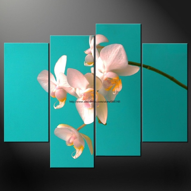 orchids cyan premium cascade canvas picture many oil paintings african decor large wall decor for living - Cyan Living Room Decor