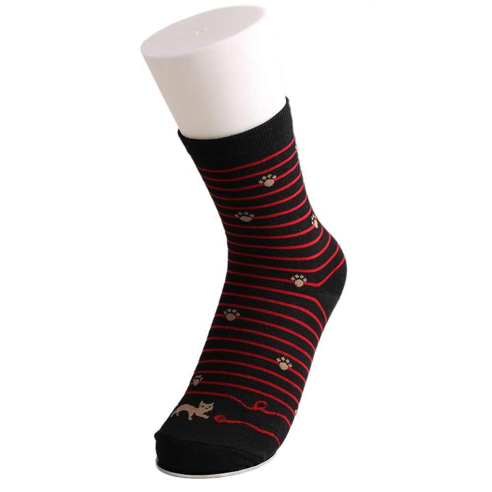 823d2d7f41c ... High Quality Female Cat Footprints 5 Colors Striped Cartoon Socks Women  Cotton Floor length sock for ...