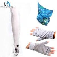 최대 캐치 uv 보호 반 손가락 장갑 및 다기능 낚시 스카프 및 통기성 스포츠 암 슬리브