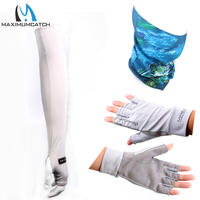 Maximumcatch UV Protection Half Finger Gloves Multi Function Fishing Scarf Breathble Sports Arm Sleeve