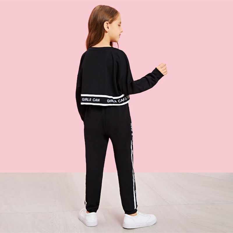 SHEIN Girls Lettering Trim Casual Pullover And Pants Set Kids Clothing 19 Spring Active Wear Long Sleeve Girls Clothes 6
