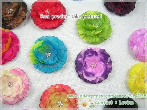 ship30 штук/лот горный хрусталь центр детский цветок в волосы головы ребенка младенца