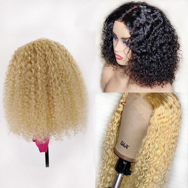 613 Blonde Short Blunt Cut Bob Lace Front Human Hair Curly Wig Brazilian Remy Transparent Invisible