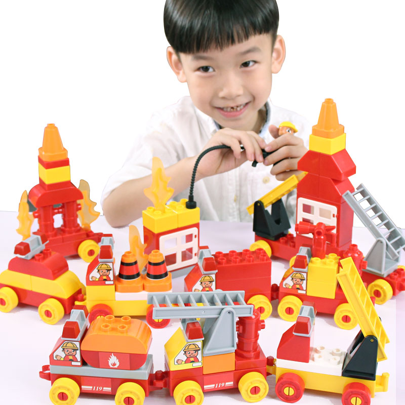 New 10017 & 10018 Big Bricks Building Blocks Baby Toy First Brick Firefighting Engineering Educational Toys Compatible 10017 9787121245541