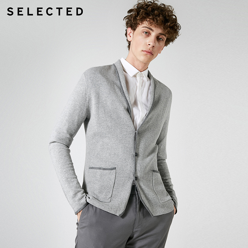 SELECTED Brand NEW Bussiness Simple V-Neck Patch Straight Long Sleeve Cardigan Knitted Blazer Men| 417324513