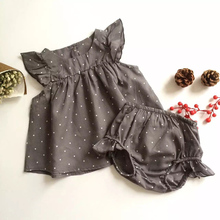 2017 Fashion Summer Style DOT Baby Girl Clothes COTTON Clothing Set Baby Clothing Children's Suit