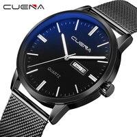 CUENA Quartz Wristwatches Men Watch Stainless Steel Week Display Complete Calendar Clock Man Black Men Watches