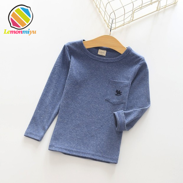 Lemonmiyu zilā kokvilnas zeķes džemperi cieti pilnas piedurknes gadījuma meitenes t-krekli dzīvnieku kakla rudens bērni mīkstie pavasara topi