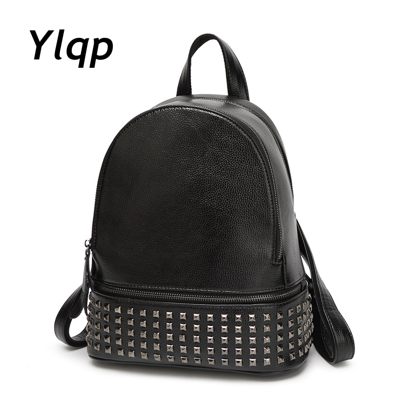New Brand Women Backpacks Rivet Fashion High Quality Leather Shoulder Bags Multi Functional Lady Leather Travel