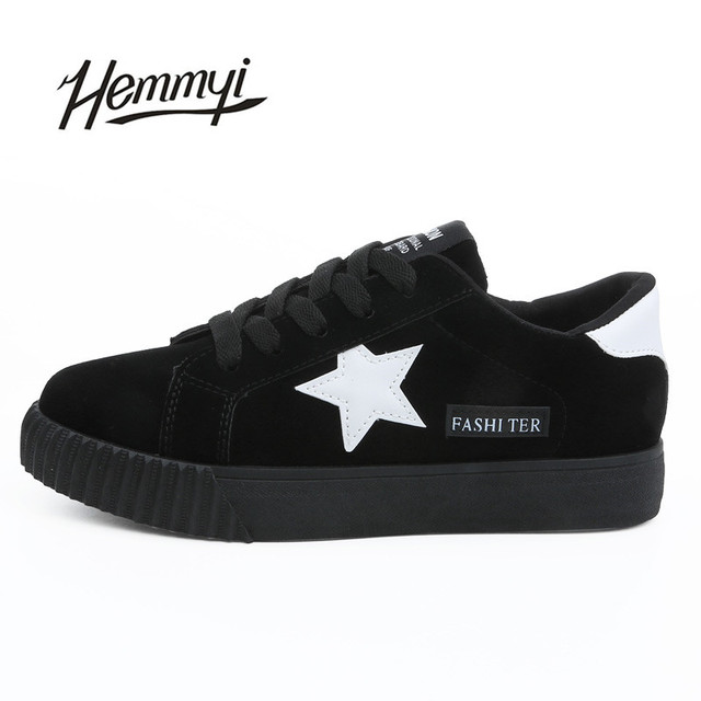 Hemmyi 2017 New autumn fashion women shoes woman casual shoe lace-up tenis feminino Hot Selling basket femme superstar shoes