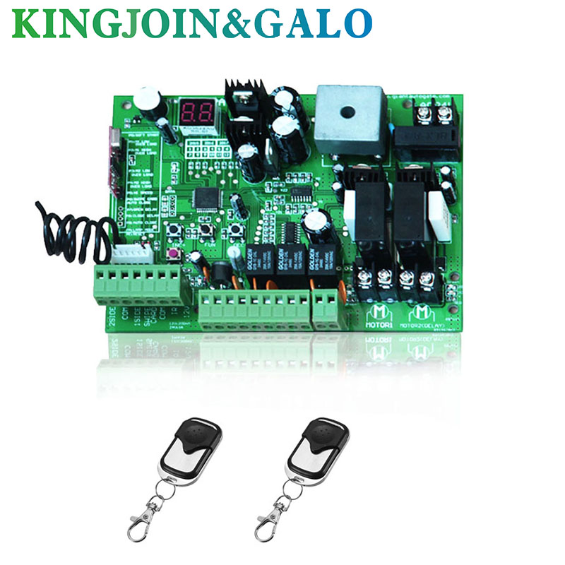 2 Remote Controls Swing Gate Opener Motor Controller Circuit Card Board 24V DC Motor Only Control Board