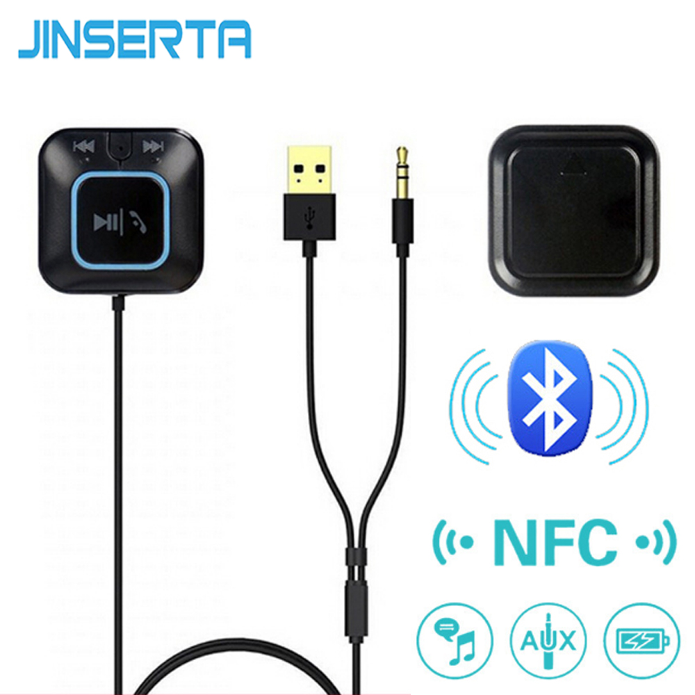 JINSERTA NFC Bluetooth Receiver Car Kit 3.5mm AUX Audio Talking Music Streaming Adapter Dongle Handsfree Mic Magnetic Base