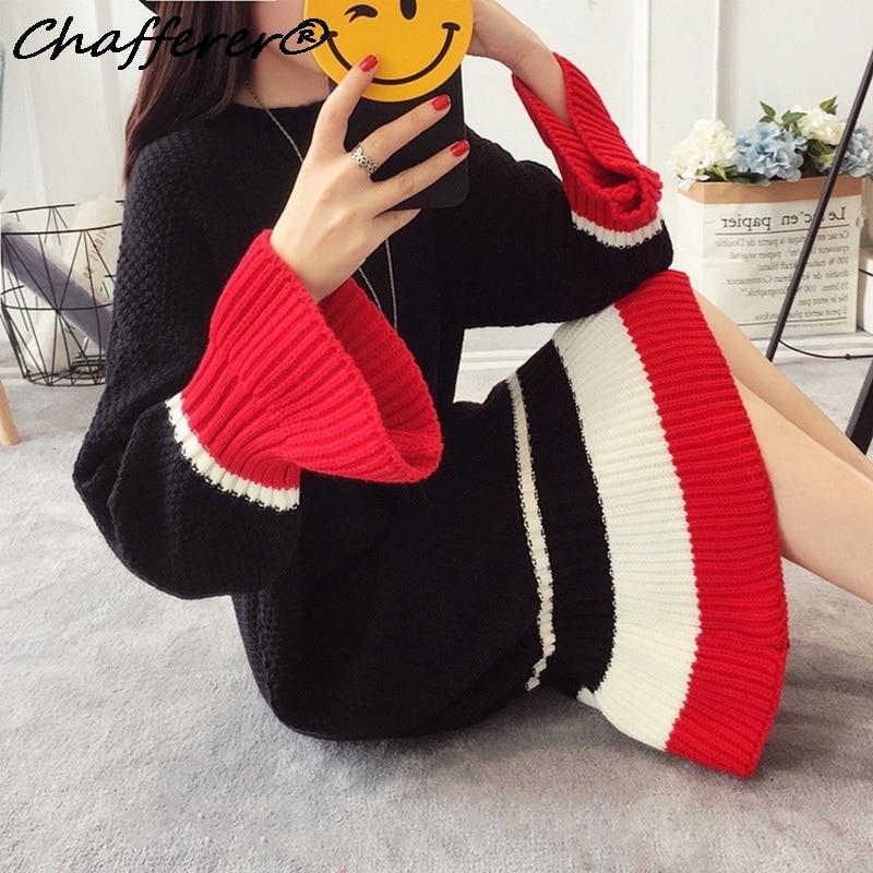 Chafferer Autumn Women 2017 Fashion Fishtail Sweater Dress Thick Winter Loose Plus Size Personality Ukraine Christmas Dresses