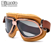 Vintage Motorcycle Goggles Pilot Motorbike Glasses Retro Jet Helmet Eyewear For Aviator Cruiser Cycling Bicycle