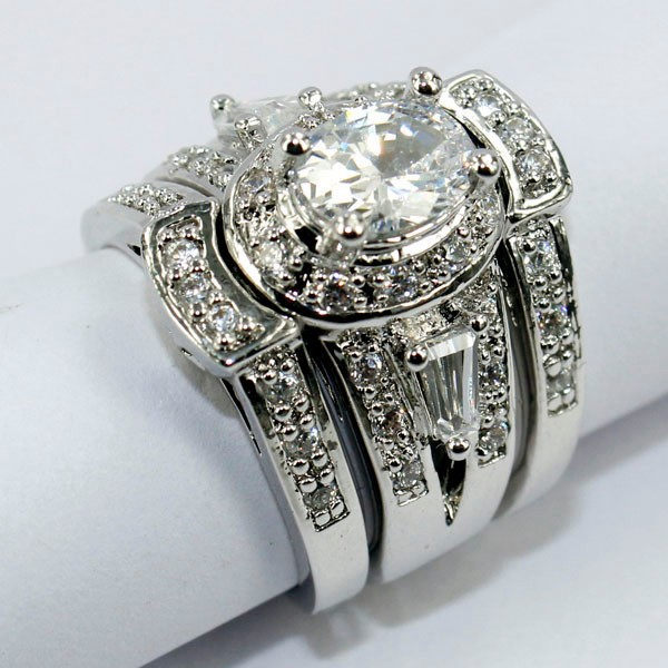 Choucong Vintage 7mm * 5mm Pietra 5A Zircone pietra 14KT Oro Bianco Riempito Gli Amanti 3-in-Engagement Wedding Ring Sz 5-11 Regalo