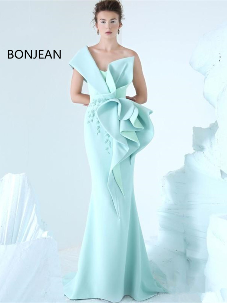 2019 Mermaid Evening   Dress   One Shoulder Embroidery Ruffles Ruched Party   Dress   Glamorous Dubai Fashion Floor Length   Prom     Dress