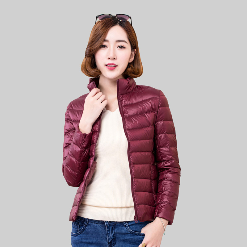 Casual 90% White Duck Down Jacket Women Stand Collar Ultra Light Female Winter Warm Casual Short Parkas Coat