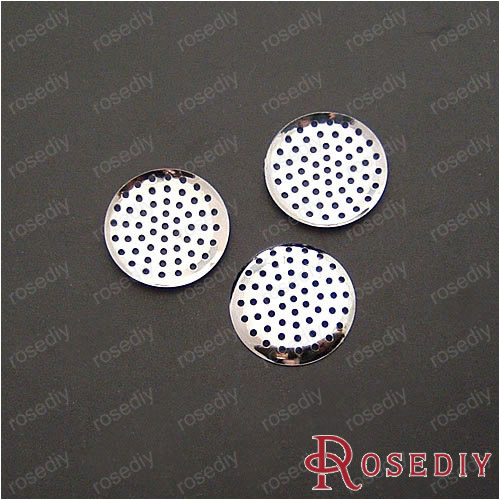 (13645) Wholesale Handmade Findings & Components 25MM Imitation Rhodium Iron Hole Disk 50PCS