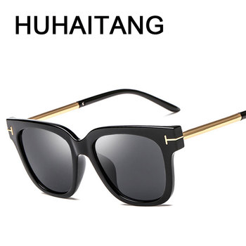 HUHAITANG Luxury Brand Designer Sunglass Womens Retro Square Oversized Sunglasses Women High Quality Black Sun Glasses For Woman