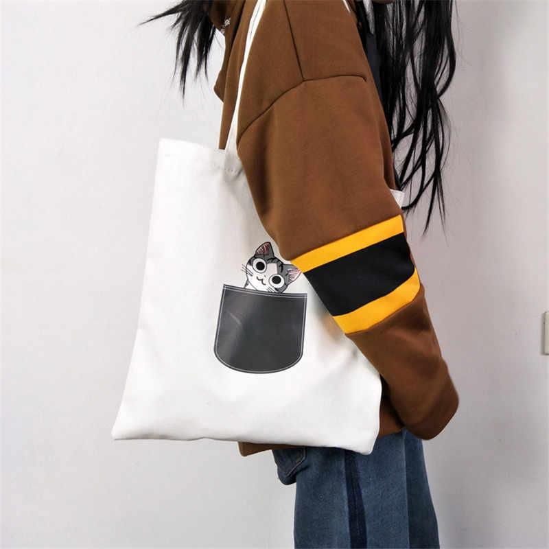 Bolso de lona para mujer bolso de hombro de tela de dibujos animados bolso de fiesta femenino blanco/negro Nuevo lindo gato perro bolsas de compras