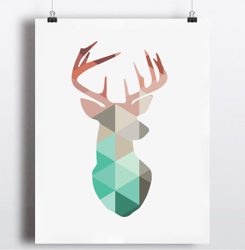 Geometric Purple Deer Wall Art Print Modern Poster Buck: Aliexpress.com : Buy Geometric Coral Deer Head Canvas Art