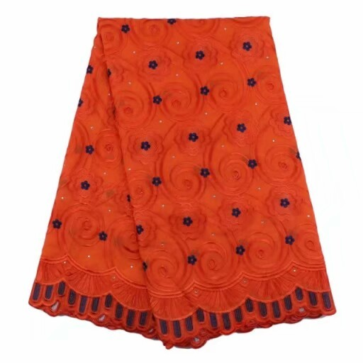 Orange women swiss voile lace with royal blue polka dots embroidery 5yards/pcs  korean lace fabric with rhinestones Dec-19-2017