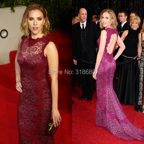 Elegant Purple Lace Mermaid Red Carpet Scarlett Johansson Celebrity Dresses Open Back Long Tail Dress